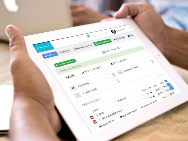 Software de gerenciamento para oficina mecânica com acesso pelo tablet e celular